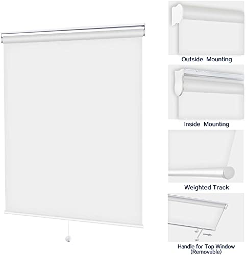 Cordless Blackout Roller Shades, White Custom Free-Stop Window Blinds, UV and Privacy Protection Easy Lift Roll Up Shades for Windows, Doors, Patios