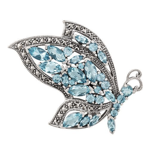 Sterling Silver 7.12ct Blue Topaz & Marcasite Flying Butterfly - Marcasite Brooch Gemstone