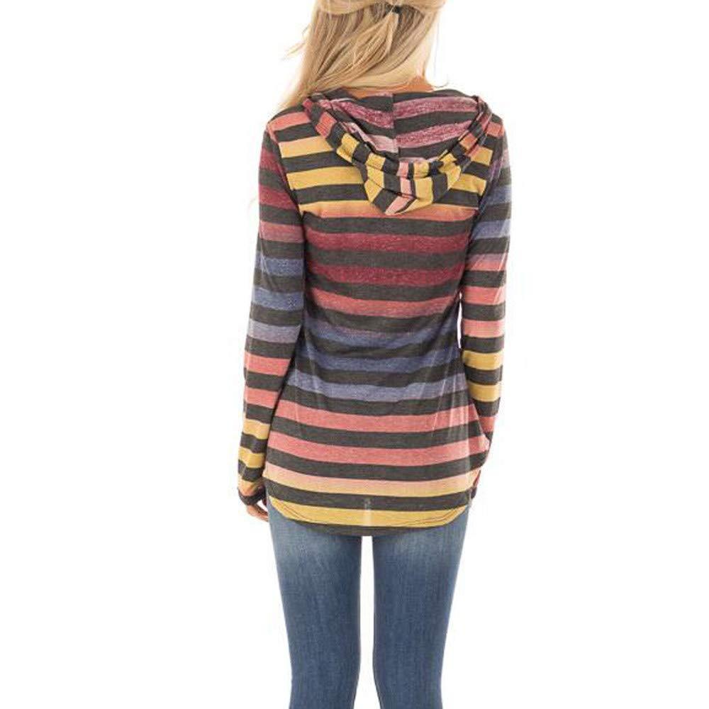 WM /& MW Womens Hoodie Fashion Retro Rainbow Striped Long Sleeve Hooded Sweatshirt Pullover Tops Casual Blouse