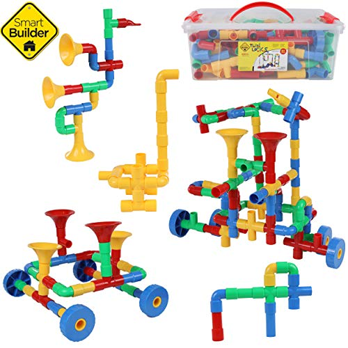 Smart Builder STEM Toys Tube Locks Building Blocks Construction Set 64 Piece Tubular Pipes Set with Wheels, Whistles, and Plastic Container Educational Engineering Toy for Kids Girls and Boys