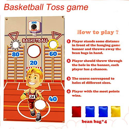 Toss Games with 4 Large Bean Bags,Indoor Outdoor Throwing Game Banners,Fun Game for Kids in Party Activities, Birthday Party Decorations,Family Game,Fun Express,Kids Party,Party Supplies