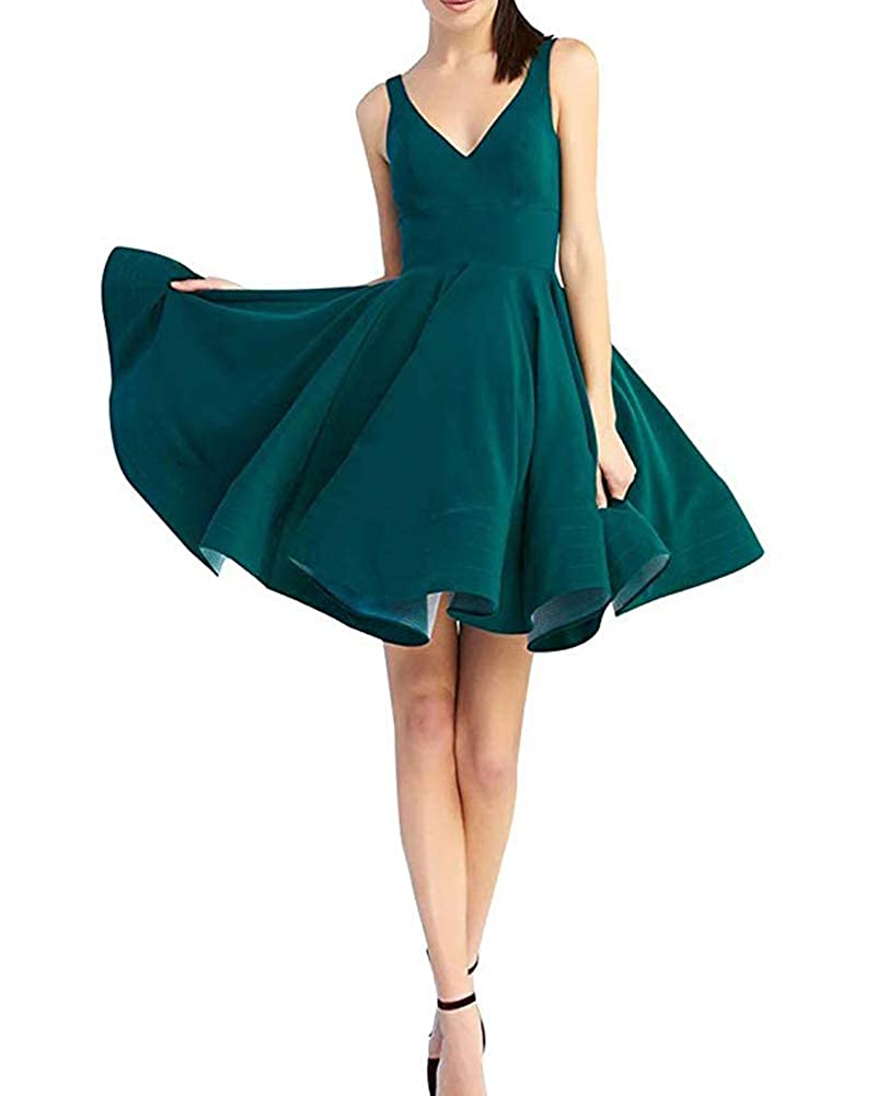 Drak Green Stylefun Women Short Prom Dress 2019 Satin Aline V Neck Cocktail Homecoming Party Gowns forJuniors BD043