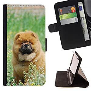 Super Marley Shop - Leather Foilo Wallet Cover Case with Magnetic Closure FOR Samsung GALAXY ALPHA G850 SM-G850F G850Y G850M- Chow Chow dog Paws Cute