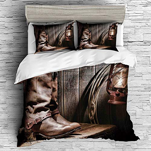 (4 Pcs Duvet Cover Set Cotton for Bedding Set with Hidden Zipper Closure(Queen Size) Western Decor,Dallas Cowboys and Lantern on a Bench in Vintage Ranch Nostalgic Folkloric Print,Brown)