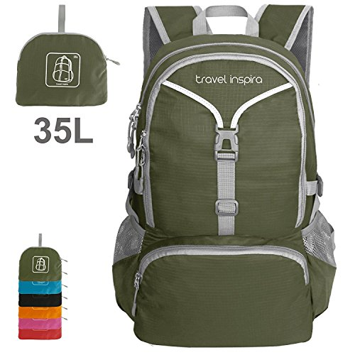 Travel Inspira 35L Lightweight Foldable Backpack Large Light Water Resistant Carry On Packable Sports ultralight Casual Bag For Gym Outdoor Camping Hiking Cycling 35 Liters (Army Green)