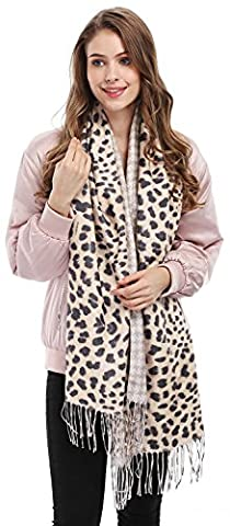Bienvenu Women's Houndstooth Print Leopard Pattern Scarves Wrap Shawl, Khaki