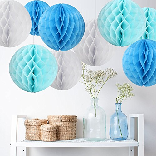 Losuya 6 x Decorative Tissue Paper Pom Poms Honeycomb Balls Table Centrepiece for Wedding Decoration, Birthday, Baby Shower, Bridal Shower, Festival Party and Home Decoration (Blue+White+LightBlue)]()
