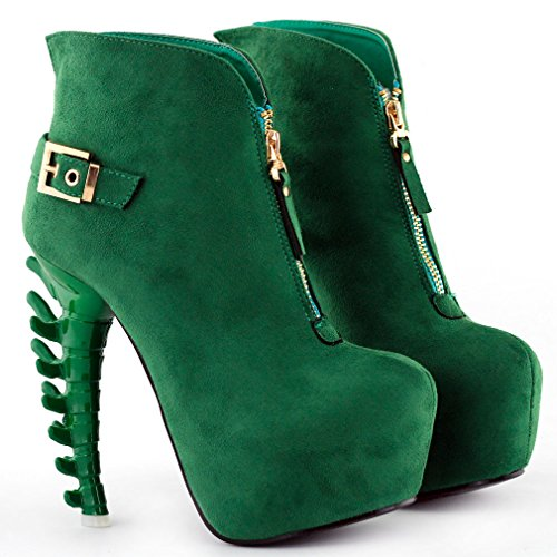 Bone Pink Heel Zip Boots top LF80620 Story Platform Green High Buckle Show Ankle Green 0qxUwEf8