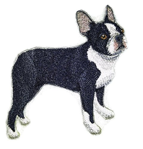 Amazing Custom Dog Portraits [Boston Terrier] Embroidery Iron On/Sew patch [4.5
