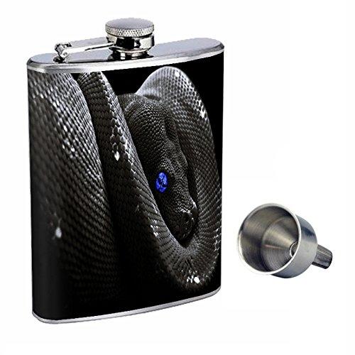 ブラックSnake Perfection inスタイル8オンスステンレススチールWhiskey Flask with Free Funnel d-001   B017FBC8K6