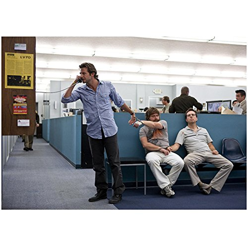 The Hangover 8 inch x 10 inch PHOTOGRAPH Phil Talking on Pay Phone Handcuffed to Alan Sitting on Bench Next to Stu in Police Station Full - Hangover Phil On