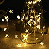 String Lights 40 Warm White LED Stars Fairy Lights 6M for Christmas Halloween Party Home Bedroom Decora