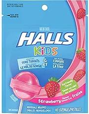 HALLS Kids Cough & Sore Throat Pops, Strawberry, 1 Resealable Bag (10 Pops Total)