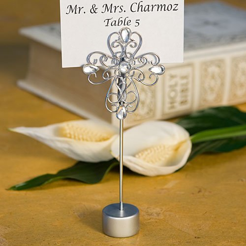 Decorative Cross Design Place Card Holder Favors, 1 - Silver Pear Place Card Holders