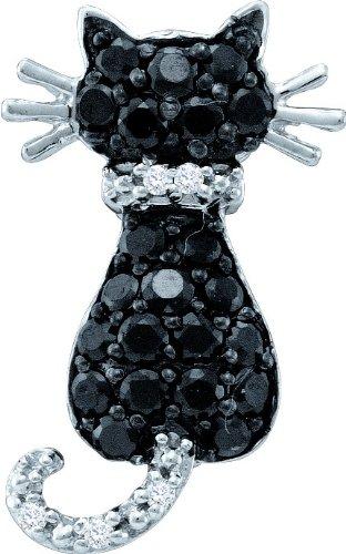 10K Or Blanc Diamant 0,33DWT Pendentif Chat-Doré Grade Plus élevé que or 9carats