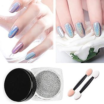 Vrenmol 1g/Box Holographic Laser Powder Nail Glitter Rainbow Pigment Nail Powder Manicure Chrome Pigments