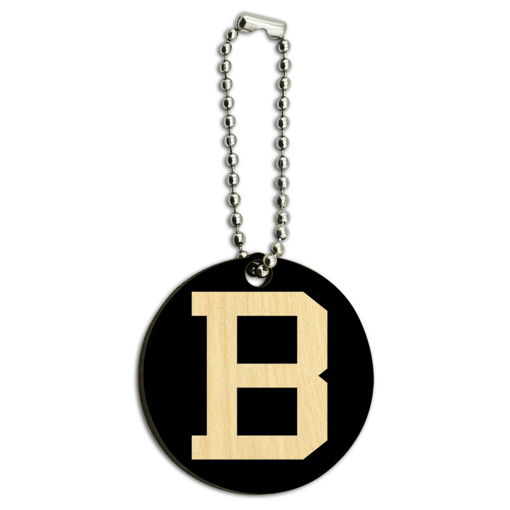 Graphics and More Letter B Initial Black White Wood Wooden Round Key Chain