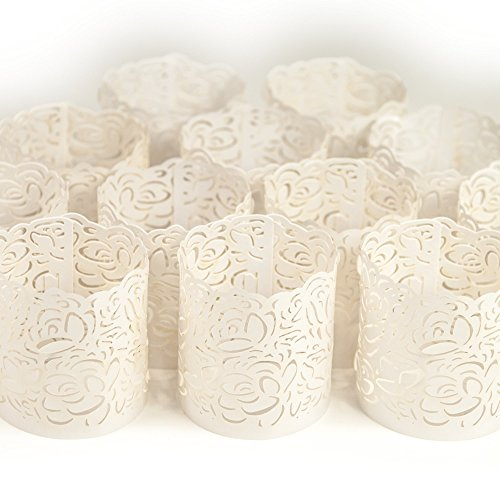 - Frux Home and Yard Votive Candle Holders - Flameless Tea Light Votive Wraps- 48 White Colored Laser Cut Decorative Wraps Flickering LED Battery Tealight Candles (not Included)