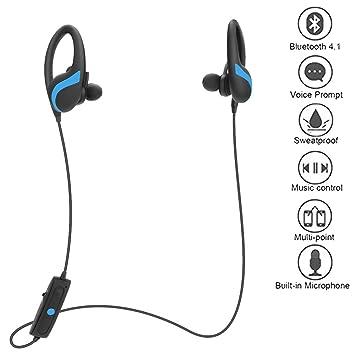 Auriculares inalámbricos corriendo, TechCode Bluetooth 4.1 Auriculares para correr Auriculares intrauditivos, Auriculares deportivos inalámbricos