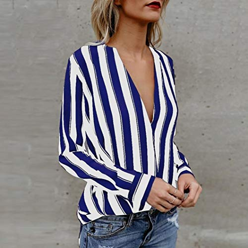 Casual AIMEE7 Chemisier V Bleu Blouse Longues Profond Femme Manches Chic Tops Col Rayures 0raRAwq0