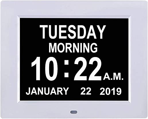 TMC Newest Version Digital Calendar Day Clock -Extra Large Impaired Vision Memory Loss Clock with 12 Alarm Options for Seniors, Elderly, Dementia, Alzheimer 8-inch,White
