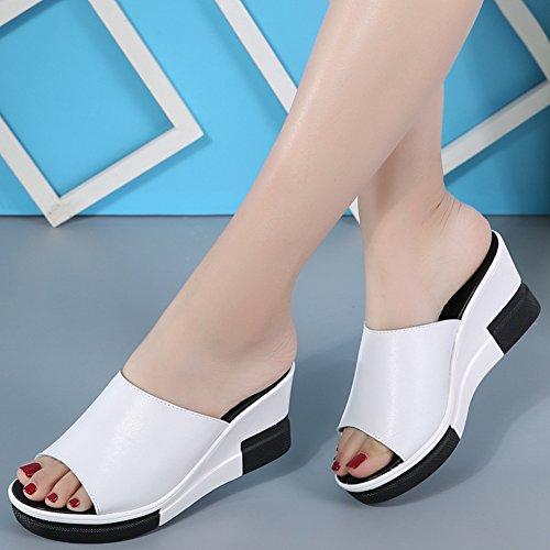 Damesmode Platform Slides Zomer Antislip Casual Walking Wedge Peep Toe Sandalen Wit