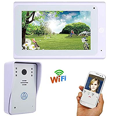 """LIBO Wifi Video Doorbell Intercom IP Camera 7"""" Monitor Touch LCD Screen IR Outdoor Camera Waterproof Support IOS/Android Smart Phone"""