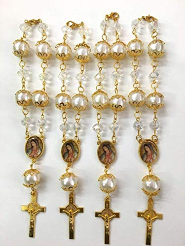 CLGIFT 12 Pc Crystal Lady of Guadalupe Car Auto Rosary with Gift Bag Perfect for First Communions, Baptism, Wedding Shower/Religious Gift/ for $<!--$13.99-->