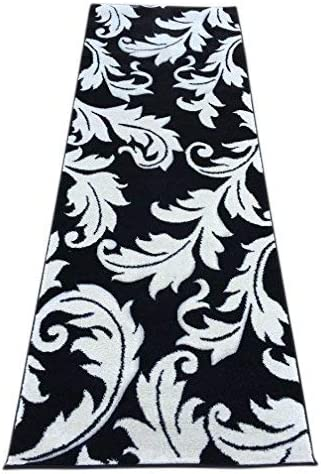Hollywood Modern Wide Floral Area Rug Runner Black White Contemporary Design 288 32 Inch X 7 Feet