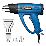 Powerextra Heat Gun,1800W Heavy Duty Hot Air Gun, Heat Gun Variable Temperature 122℉~ 1022℉(50℃- 550℃),two-Temp Settings,Four Nozzles with Overload Protection for Stripping Paint, Bending Pipes, Light