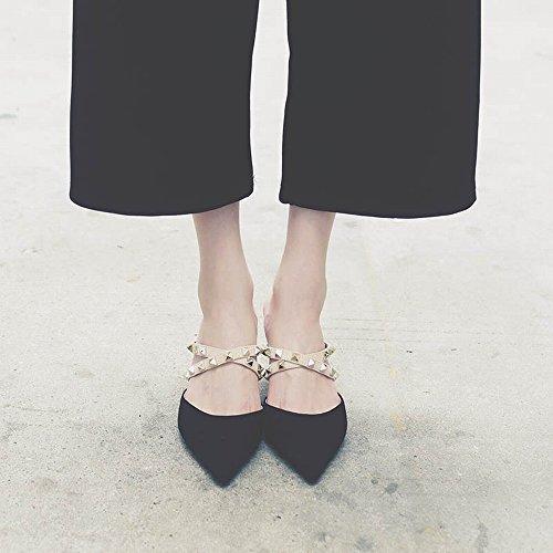 Mulei des Rivets Talon SED avec Baotou avec des Fines Chaussures Noir Femme à Femme Pointu Sandales Chaussures 1W0qAOR0Y
