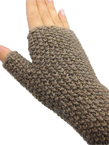 ハンドメイドPureアルパカ指なし手袋 – モカCreme (ニットby Hand /レディース/ティーン)