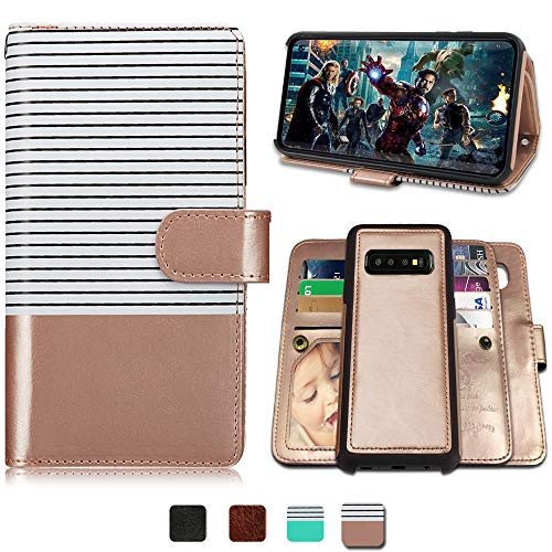 (CASEOWL Galaxy S10 Plus Cases,Magnetic Detachable Lanyard Wallet Case with [8 Card Slots+1 Photo Window][Kickstand] for Galaxy S10 Plus,2 in 1 Premium Leather Removable TPU Case(White&Rose Gold))