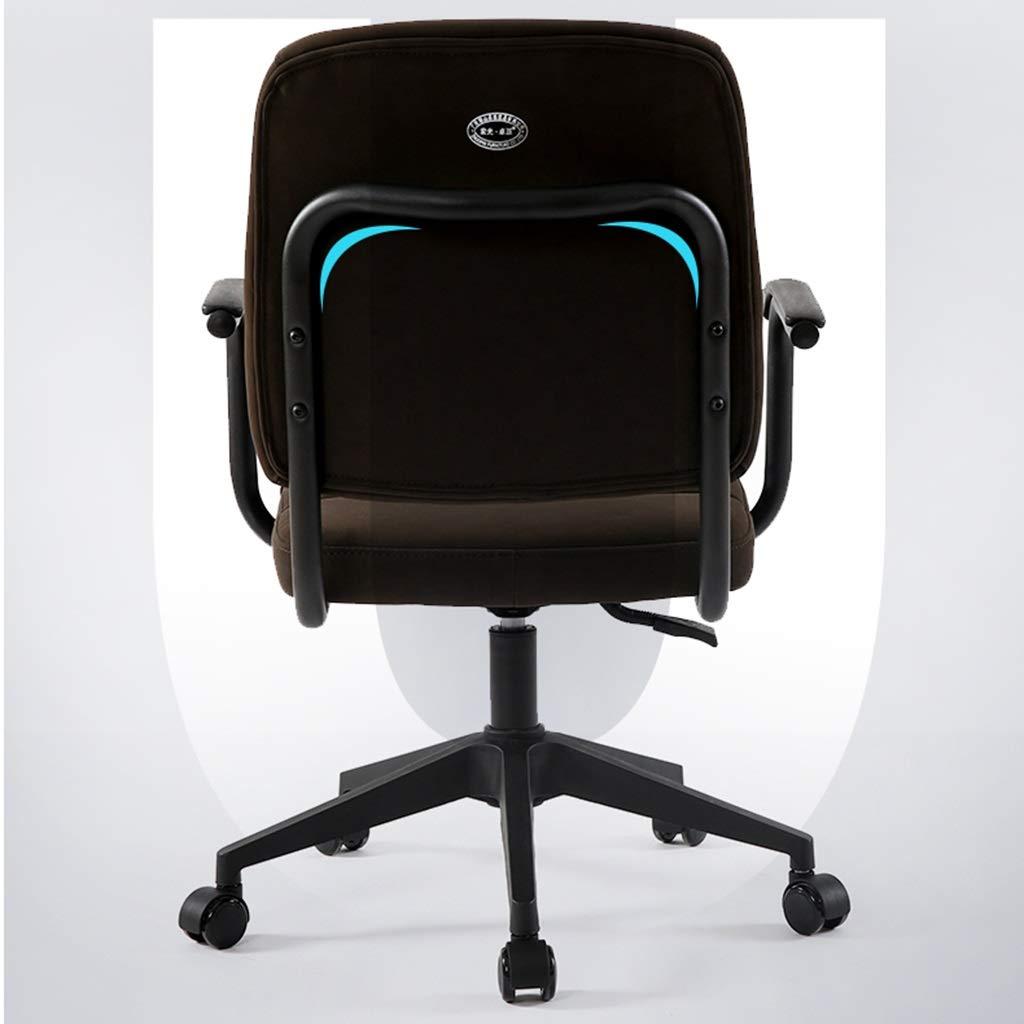 ZZHZY BBGS skrivbordsstol, datorstol justerbar höjd bekväm kontorsstol med armstöd vadderad svängbar stol, hem/kontorsmöbler (färg: svart) BRUN