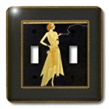 3dRose LLC lsp_39590_2 Art Deco Lady On Black with Gold Frame, Double Toggle Switch