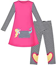 Sunny Fashion Girls Outfit Set 2 Piece Cotton Heart Casual Dress Leggings Top Pants Size 3-6