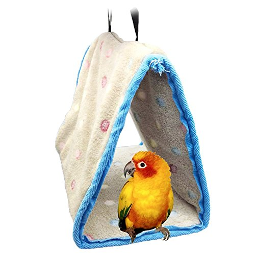 Bird Bed (Parrot Perch Tents, Mrlipet Winter Warm Bird Animal Plush Snuggle Hammock Hanging Snuggle Cave Happy Hut Hideaway for Budgies Parakeet Cockatiels Lovebird Finch and Other Small To Medium Size Birds)