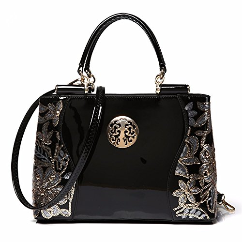 Cuero Moda Dama black De Cuero Gqfgyyl Bag Bolso Satchel Black IwqES1