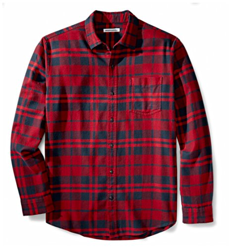 (Amazon Essentials Men's Regular-Fit Long-Sleeve Plaid Flannel Shirt, Red Plaid, Small)