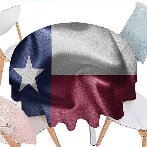 (Western, Waterproof Table Cover, State of Texas Flag with Star Freedom Symbol Wind Blow Effect Print, for Outdoor and Indoor Use, (Round, 70 Inch, Maroon Dark Blue White))