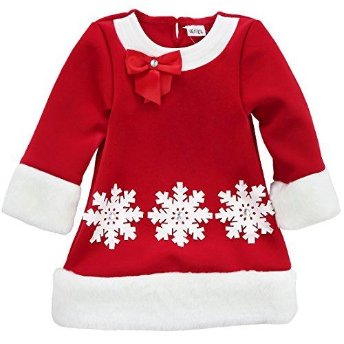 iEFiEL Little Santa Kids Christmas Snowflake Rhinestone Dress Winter Outwear Red (Little Girls Santa Dresses)