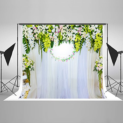 7x5ft Kate Wedding Backdrops Photography Cloth White Curtain Green Screen Flowers Digital Backgrounds for Photos Studio HJ03018