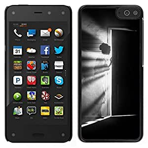 // PHONE CASE GIFT // Duro Estuche protector PC Cáscara Plástico Carcasa Funda Hard Protective Case for Amazon Fire Phone / Meaning Girl Black White Deep /