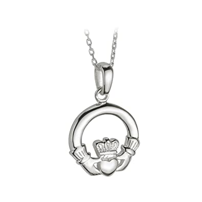 Amazon claddagh necklace medium sterling silver irish made claddagh necklace medium sterling silver irish made aloadofball Choice Image