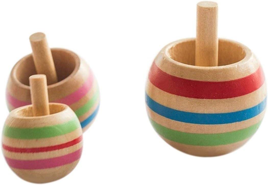 Rouku Neuheit Attractive3pcs FunnyWooden Bunte Kreisel Kinder Holz Kinder Party Spielzeug
