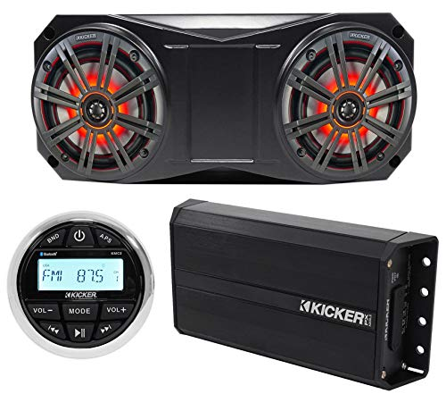 "Kicker Bluetooth Receiver+2 6.5"" LED Overhead Speakers+Amplifier 4 ATV/UTV/Cart"