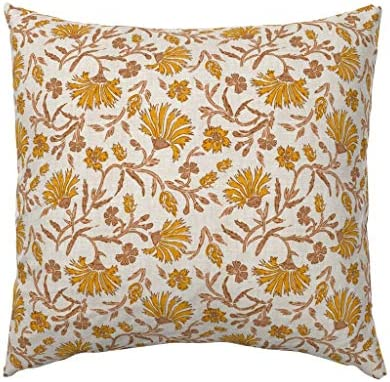 Texture Mustard Brown Woven Floral 100/% Cotton Sateen Sheet Set by Roostery