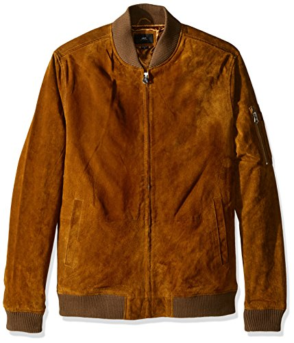 Suede Bomber Jacket - OBEY Men's Pilot Suede Jacket, Caramel, Large