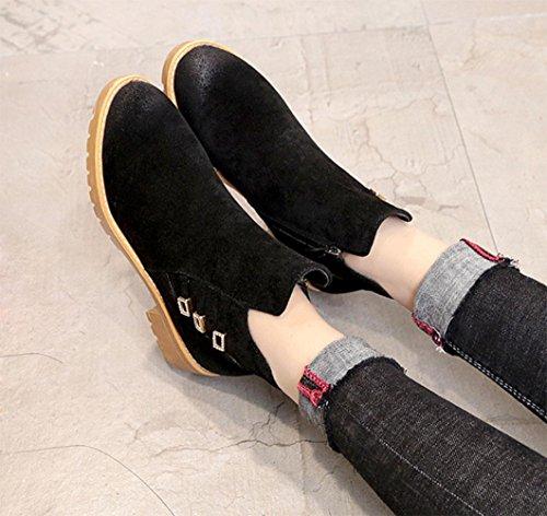 Kuki autunno donne stivali con tacco Martin stivali Cheap stivali donna testa rotonda pantaloncini da donna scarpe, US8/EU39/UK6/CN39