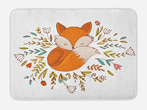 Ambesonne Cartoon Bath Mat, Baby Fox Sleeping in a Floral Made Bed Circle Art Print, Plush Bathroom Decor Mat with Non Slip Backing, 29.5 W X 17.5 L Inches, Dark Orange